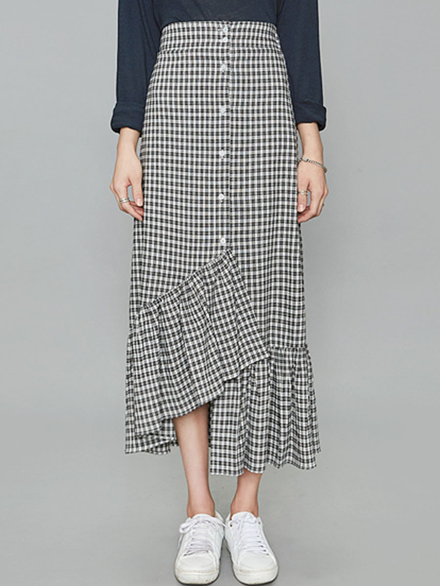 Elastic Waist Asymmetric Ruffled Hem Plaid Maxi Skirt