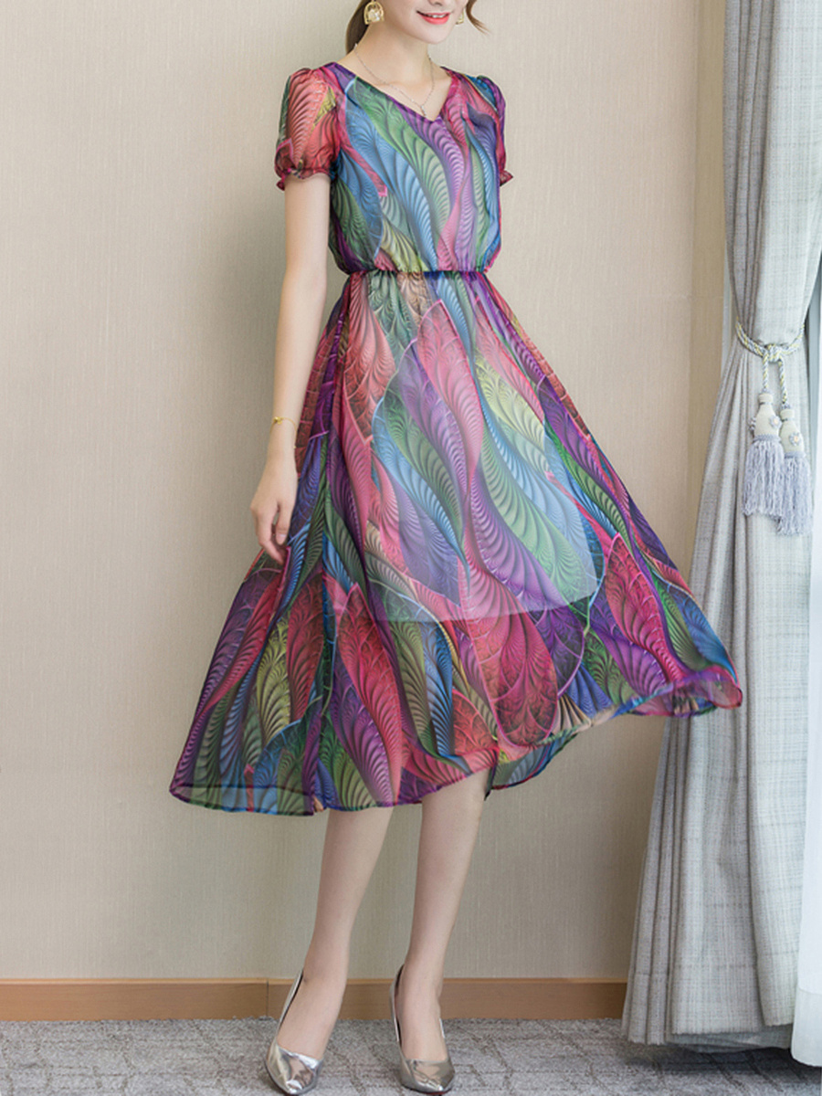 V-Neck  Elastic Waist  Printed  Chiffon Maxi Dress