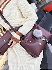 Two Pieces Plain Women Hand Bags