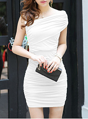 Plain  Blend Bodycon Dress