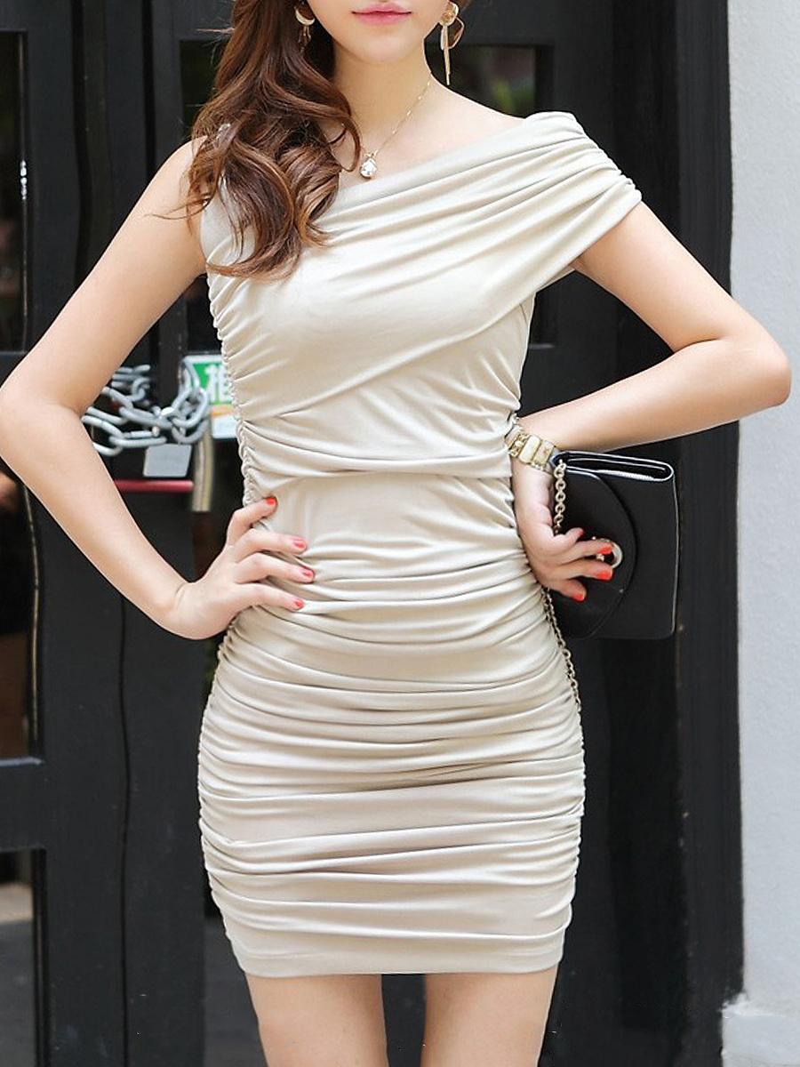 Plain  Blend Bodycon Dress