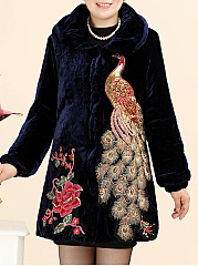 Embroidery Plain  Long Sleeve Coats