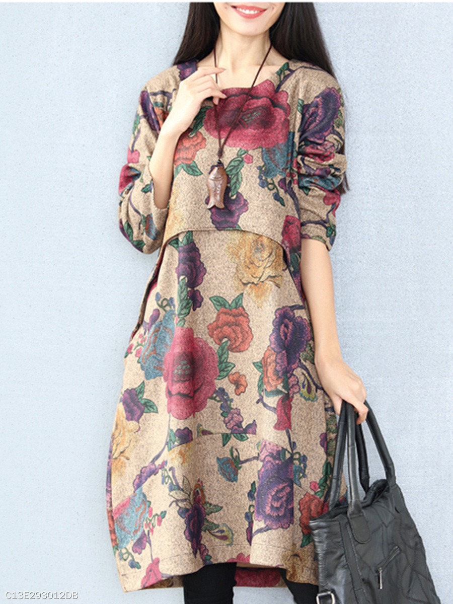 Floral Printed Round Neck Pocket Maxi Dress