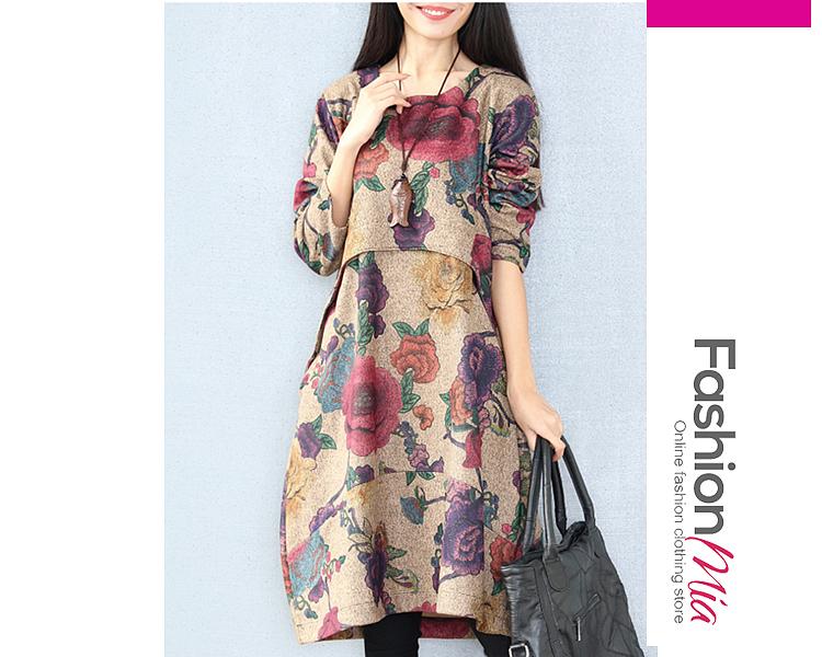 Floral Printed Round Neck Pocket Maxi Dress C13E293012DB