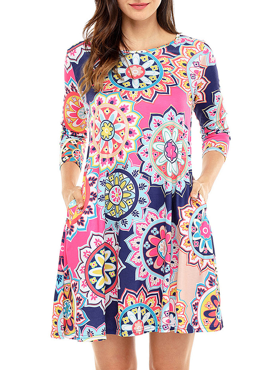 Colorful Printed Pocket Round Neck Shift Dress