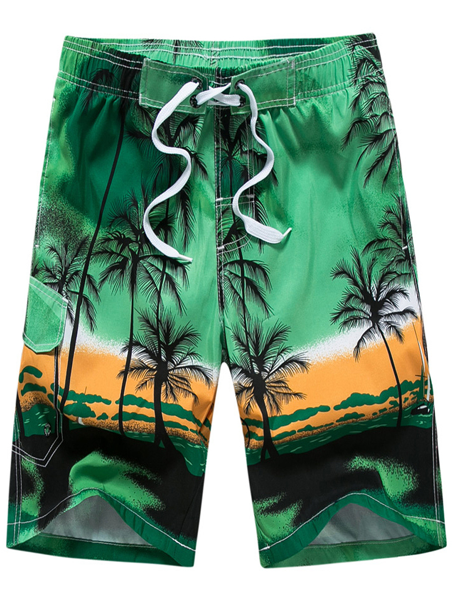 Printed  Straight  Mid-Rise Board Shorts