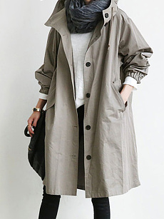 Hooded  Drawstring Single Breasted  Plain  Long Sleeve Trench Coats