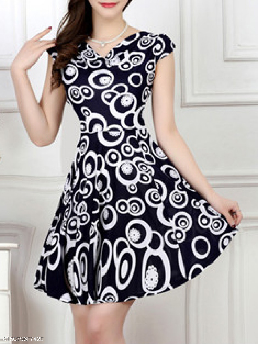 Round Neck Date Abstract Print Printed Skater Dress