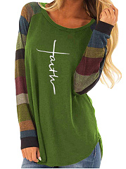 Autumn Spring  Polyester  Women  Round Neck  Color Block Letters Long Sleeve T-Shirts