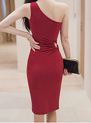 ... One Shoulder High Slit Plain Cutout Bodycon Dress ...