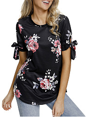 Summer  Cotton  Women  Round Neck  Floral Printed  Tie Sleeve Short Sleeve T-Shirts