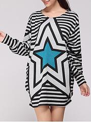 Star-Striped-Round-Neck-Plus-Size-T-Shirt