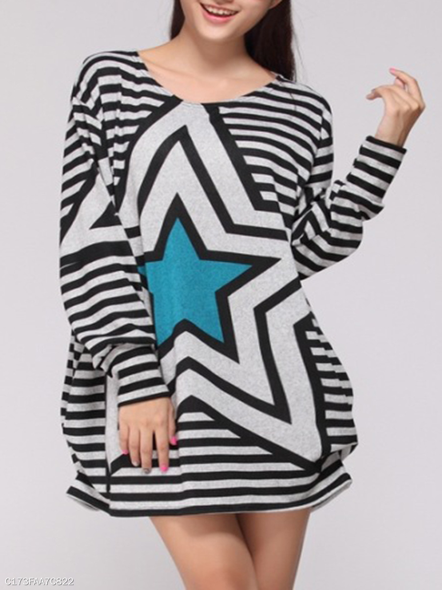 Star Striped Round Neck Plus Size T-Shirt