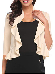 Fold-Over Collar  Flounce  Plain  Half Sleeve Cardigans