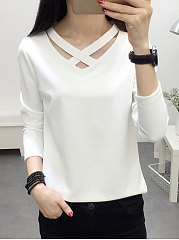 Autumn Spring  Polyester  Women  Plain  Long Sleeve Long Sleeve T-Shirts