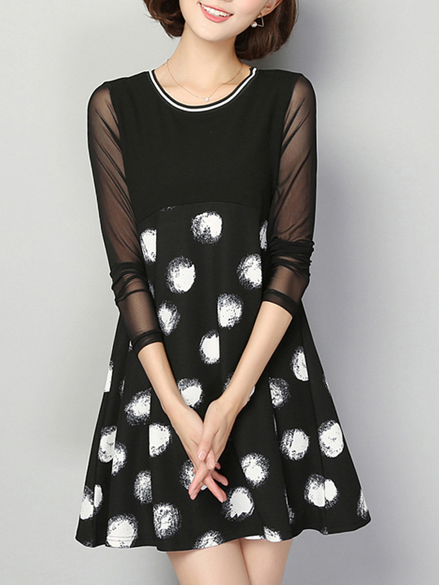 Round Neck See-Through Spotty Empire Shift Dress
