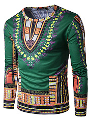 Round Neck  Tribal Printed  Long Sleeve Long Sleeves T-Shirts