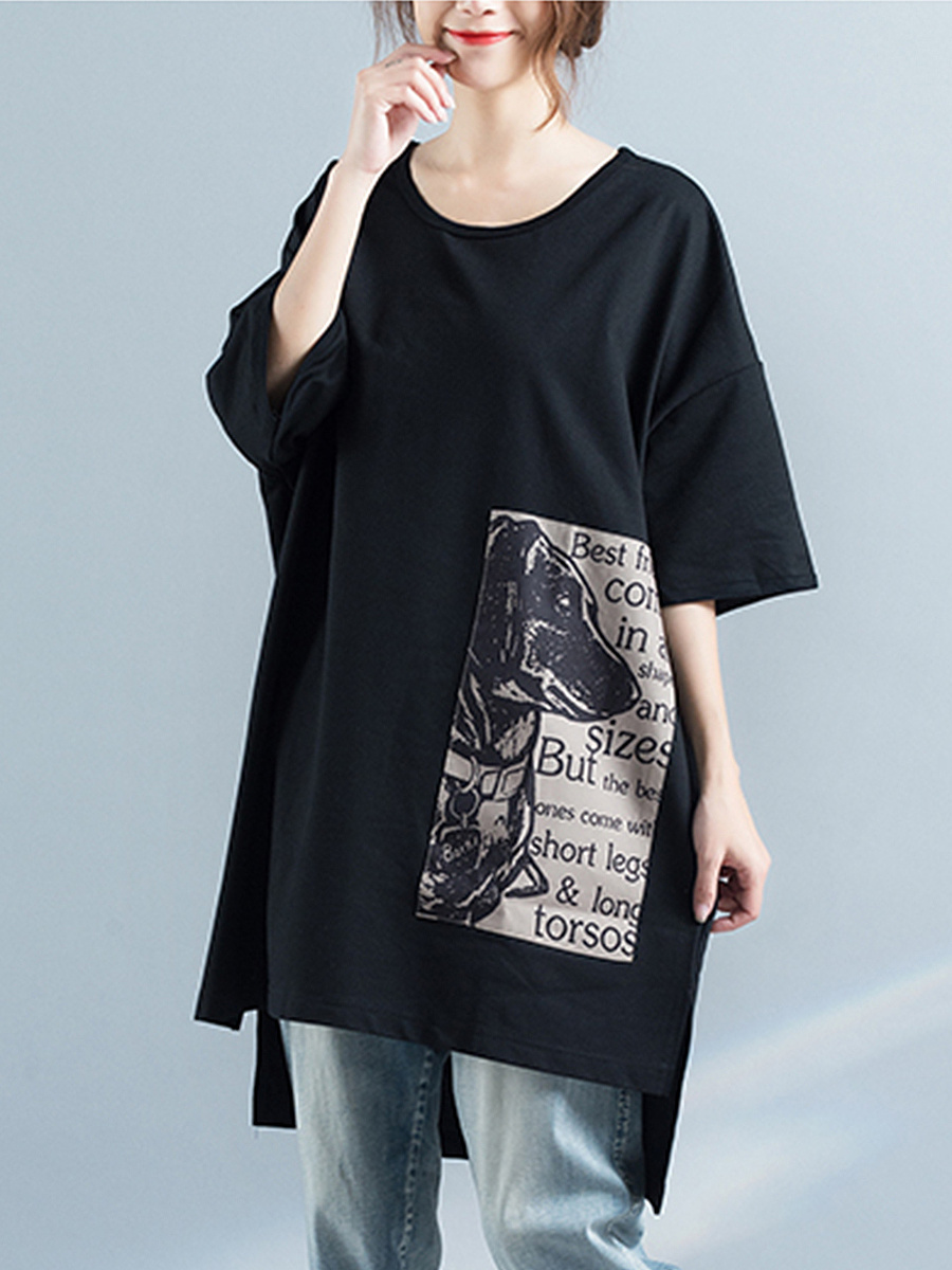 Oversized High-Low Round Neck Printed Blouse