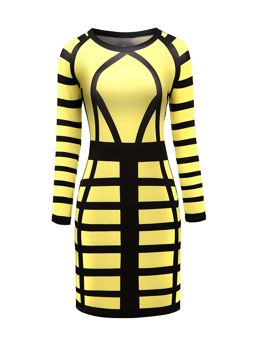 Dramatic Round Neck Color Block Bodycon Dress