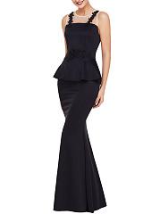 Round-Neck-Peplum-See-Through-Mermaid-Evening-Dress