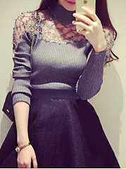 Patchwork  Plain Striped  Long Sleeve Sweaters Pullover
