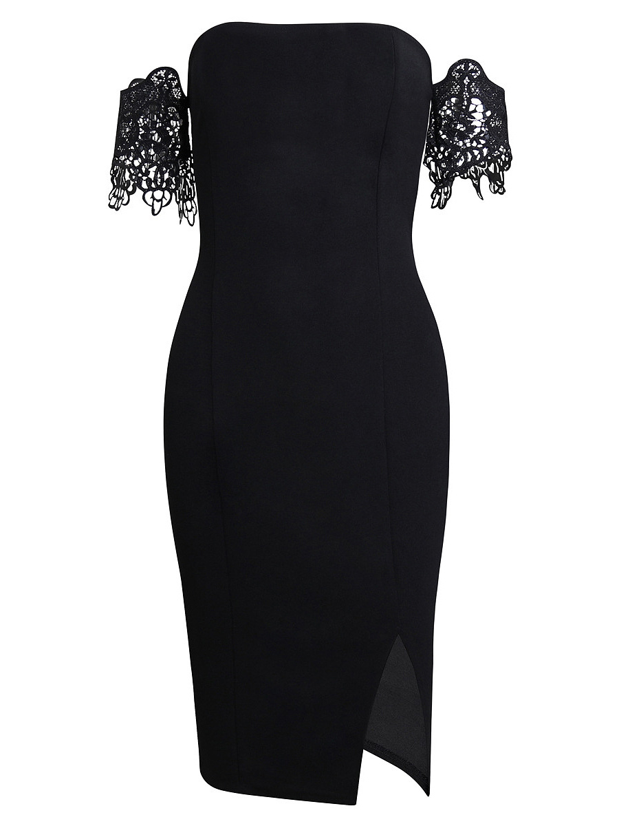 Charming Off Shoulder Decorative Lace Slit Plain Bodycon Dress