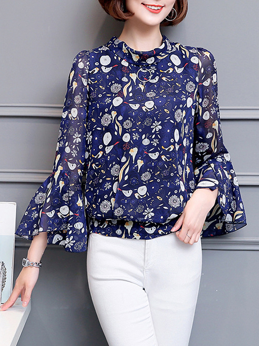 Lovely Printed Band Collar Bell Sleeve T-Shirt