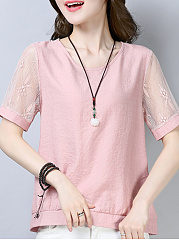 Round Neck  Loose Fitting Patchwork  Lace Blouses