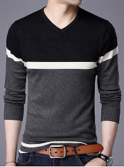 V-Neck Color Block Striped MenS Sweater
