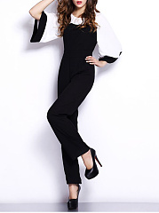 Color Block Bell Sleeve Round Neck Straight Jumpsuit