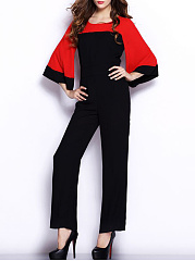 Color-Block-Bell-Sleeve-Round-Neck-Straight-Jumpsuit
