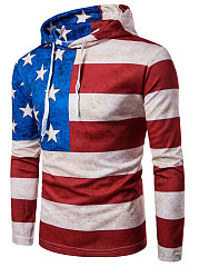 Trendy US Flag Printed Men Hoodie