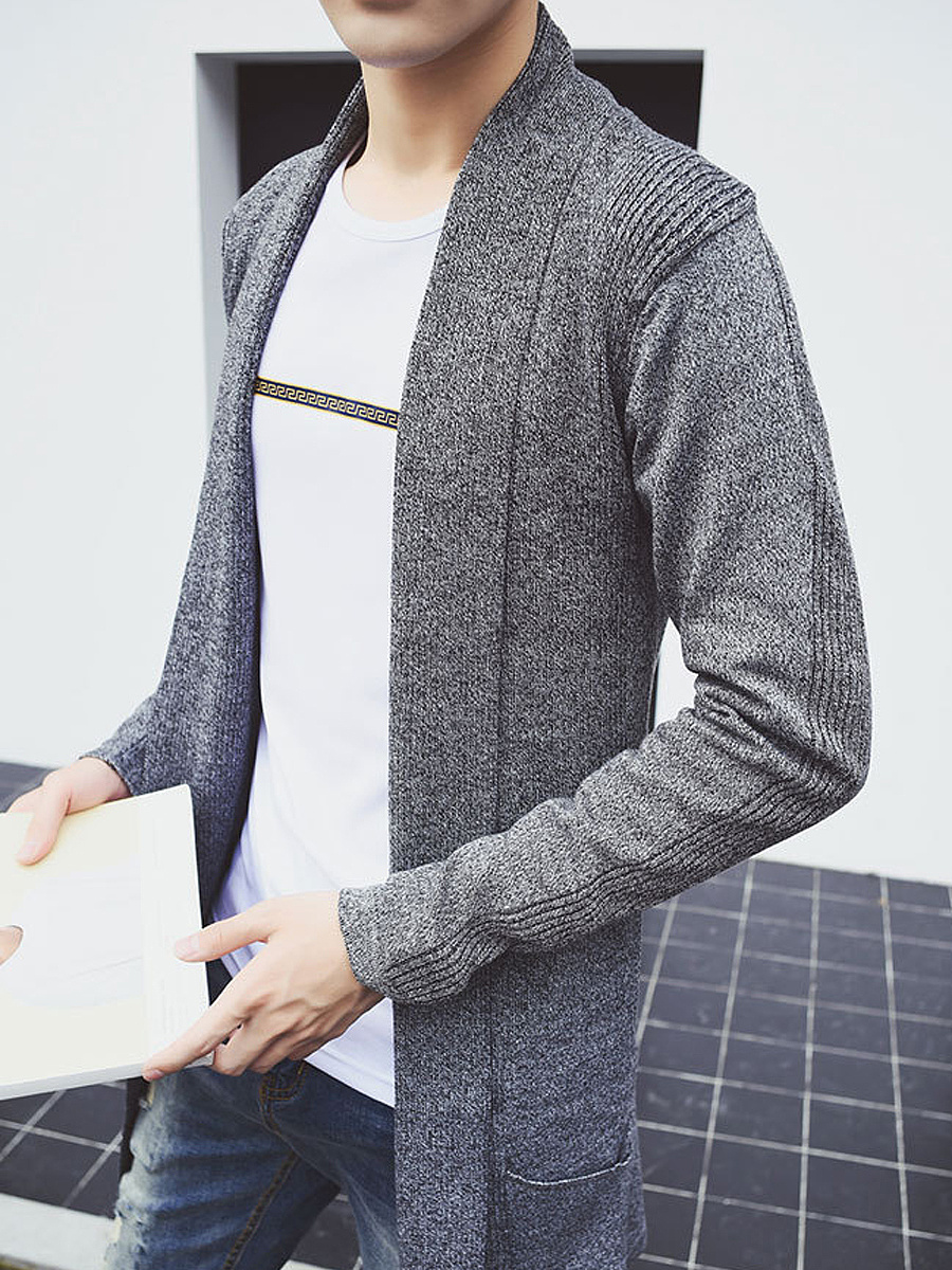 Men'S Lapel Plain Pocket Cardigan