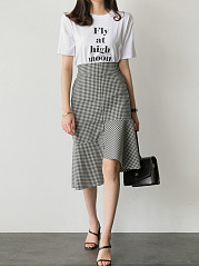 Asymmetric Hem Plaid Elastic Waist Mermaid Midi Skirt