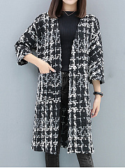 Collarless  Plaid  Half Sleeve Coats