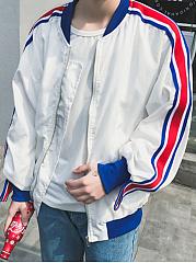 Men-Striped-Band-Collar-Pocket-Bomber-Jacket