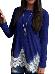 Round Neck  Patchwork  Lace Long Sleeve T-Shirts