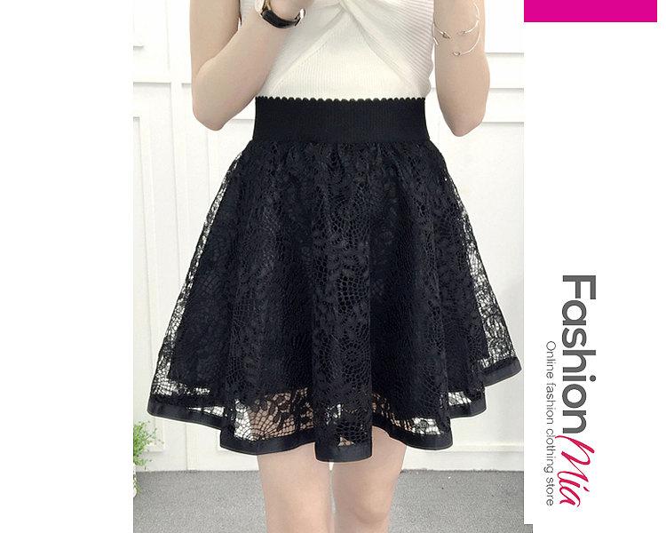 Decorative Lace  Plain Midi Skirts For Women