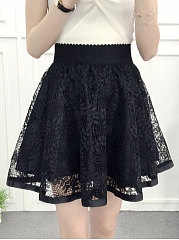 Decorative Lace  Plain Midi Skirts For Women