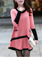 Round Neck  Patchwork  Color Block  Cotton Shift Dress