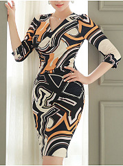 Surplice  Geometric Bodycon Dress