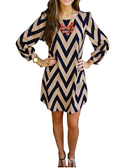 Geometric Round Neck  Shift Dress