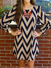 Round Neck  Geometric Shift Dress