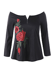 Open Shoulder  Embroidery Plain  Long Sleeve Plus Size T-Shirts
