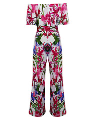 Off Shoulder Flounce Floral Printed Wide-Leg Jumpsuit