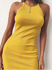 Halter  Plain Bodycon Dress