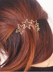 Hollow Out Gold Star Hair Clip