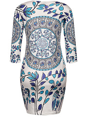 Round Neck Remarkable Printed Bodycon Dress
