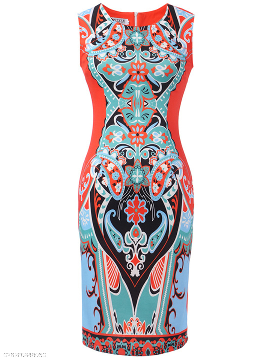 Print Boat Neck  Slit  Abstract   Blend Bodycon Dresses