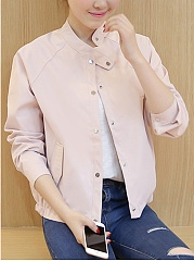 Band Collar  Single Breasted  Plain  Long Sleeve Jackets